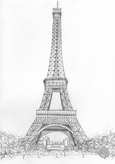Gallery For gt Pencil Drawings Of The Eiffel Tower